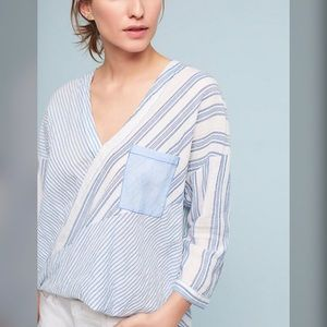 Anthropologie holding horses  high low button up